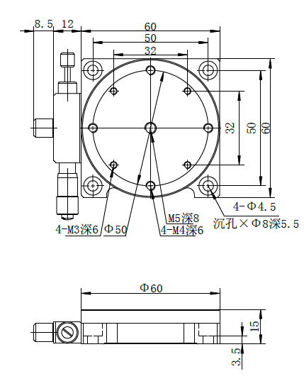 Manual Rotary stage: J03SX125